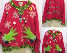 Custom Mens Grinch Me Tacky Ugly Christmas Sweater Garland Trim Made to Order You're a mean one Grinch Sweater, Mens sweater, Ugly Sweater