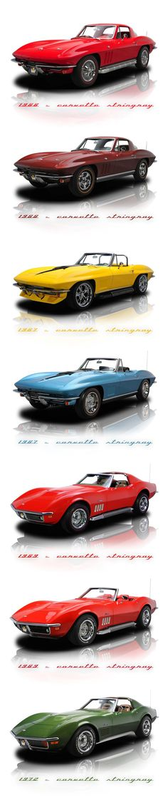Chev Corvette line-up. I think the Stingray was a much nice looking Corvette. Chevrolet Corvette, Chevy, Old Corvette, Classic Corvette, Corvette Summer, Us Cars, Sport Cars, Vintage Cars, Antique Cars
