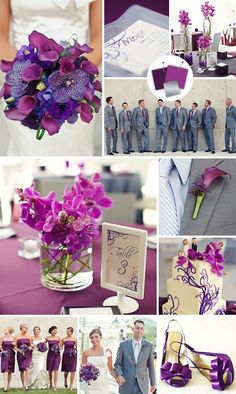 We love this use of color. Add some purple hues via lighting at the reception and it would all be perfectly tied together in a subtle manner!