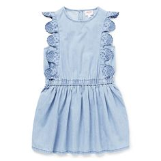 100% Cotton. Sleeveless chambray dress features broderie frills. Regular fitting silhouette. Available in Powder Blue.