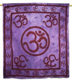 Beautiful Indian Screen Printed Cotton Om Print Tapestry or Bed Cover in Twin Size. ..this is img