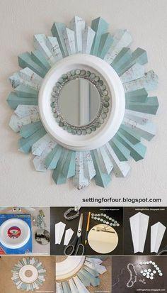 Sunburst mirror DIY home decor project.