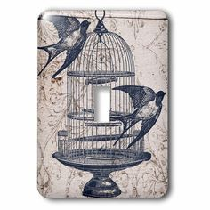 Bird Cage Steampunk 1 Gang Toggle Light Switch Wall Plate In 2021 Bird Cage Vintage Birds Steampunk Art