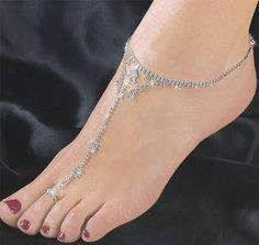 Silver anklets and toe ring go well with any casual dress for women, occidental or oriental. Traditionally, the wearing of an anklet is an . Silver Anklets, Beaded Anklets, Ankle Jewelry, Ankle Bracelets, Toe Ring Designs, Jewelry Gifts, Jewelery, Anklet Tattoos, Calf Tattoos