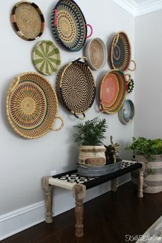 Simple and Creative Tricks Can Change Your Life: Round Wicker Chair wicker diy home decor.Wicker Redo How To Make. Room Decor, Decor, Diy Home Decor, Basket Wall Decor, Interior, Dining Room Walls, Home Decor, Colorful Baskets, Baskets On Wall