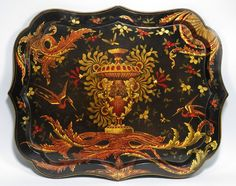 , shaped edge with elaborate scroll, floral and bird decoration surrounding a center urn, by on Jan 2012 Painted Trays, Decoupage Ideas, Tea Tray, Tea Cakes, Time Art, Chinoiserie, Urn, Favorite Things, Villa