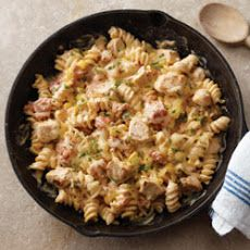 Southwest Pasta Skillet  I will not use cream cheese and maybe use chicken broth with a little flour instead.