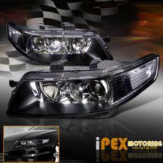 2004 2005 Acura TSX JDM Style Black Projector Headlights Lamps Left Right   eBay