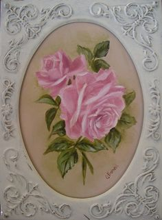Romantic Country and Rose Paintings: Oval Pink Roses Print by Chris Hobel http://chris-hobel.artistwebsites.com/available at
