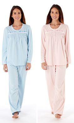 Lady Selena Hedy Brushed Jersey Pyjamas - Blue or Pink - to 24 Fleece Pajamas, Pyjamas, Womens Pjs, Body Warmer, Keep Warm, Nightwear, Selena, Feminine, Ladies Pjs