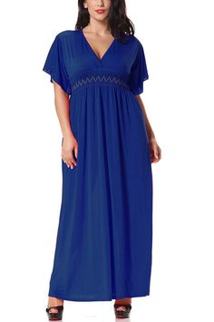 This dress is classy to the maxi. It's navy and styled with v neck, bat sleeves and wave embroidery in waist. Team it up with gladiator sandals and a red lip.