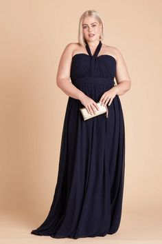 Birdy Grey Grace Convertible Bridesmaid Dress in Navy Blue | Dark blue chiffon plus size bridesmaid dresses under $100