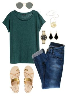 """""""Untitled #178"""" by jlmurray411 ❤ liked on Polyvore featuring H&M, Hudson Jeans, René Caovilla, Jennifer Zeuner, Marc by Marc Jacobs, Kendra Scott and Ray-Ban"""
