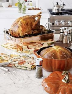 Shop Staub ® Enamel Cast Iron Pumpkin Cocotte, Harvest Oven Mitt, Mauviel ® Copper Roaster with Rack and Butter Bread Recipe, Bread Recipes, Cooking Recipes, Cooking Bacon, Oven Recipes, Turkey Prep, Honey Butter, Roasting Pan, Kitchen