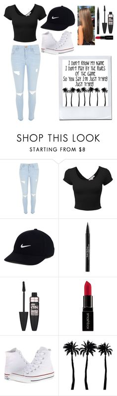 """""""•~•I don't know my name...•~•"""" by halee1273 ❤ liked on Polyvore featuring River Island, LE3NO, NIKE, Trish McEvoy, Maybelline, Smashbox, Converse and Dot & Bo"""