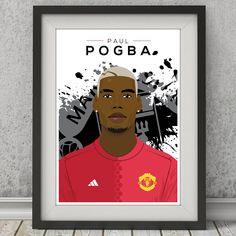 Paul Pogba, Manchester United Illustrated Poster:  8x10 inch £6.00 A4  £7.00 A3 £9.99  www.carlhughesdesign.etsy.com