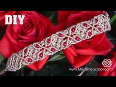 Macrame Bracelet with Floral Motif and Beads - YouTube