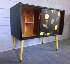 SOLD but commissions available. Mid century record cabinet with storage for vinyl. Beech interior with black and yellow colour scheme. by HoneyBadgerFurniture on Etsy