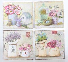 Set de 4 cuadros vintage DP-95225 Vintage Labels, Vintage Cards, Vintage Postcards, Vintage Images, Decoupage Vintage, Decoupage Paper, Decoupage Canvas, Decoupage Printables, Floral Printables