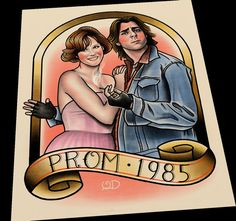 Bender and Claire Prom 1985 Art Print by ParlorTattooPrints