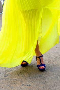 Bright Yellow & Blue Heels