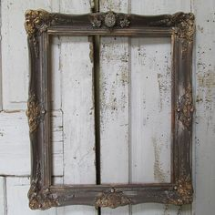 Ornate wooden wall frame antique farmhouse gray putty and gold painted wood frame rhinestone embellished home decor anita spero design