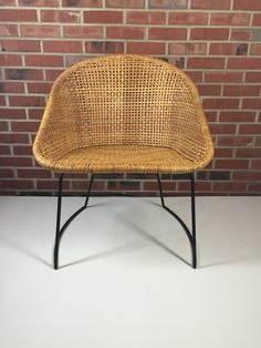 RESERVED FOR VIOLINSWONH Wrought Iron And Rattan Patio Chair Salterini Style Vintage Danish Modern Mid Century Modern