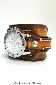 Tobacco Brown Leather Cuff Watch Wrist by CuckooNestArtStudio