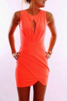 Beautiful Coral Jean Jail Mini Dress