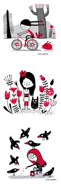 Elise Gravel illustration • Illustrations in two colors • bichromie • line art • kids • girls • art • drawing