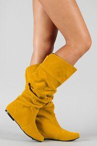 Qupid Neo-144 Velvet Slouchy Knee High Flat Boot