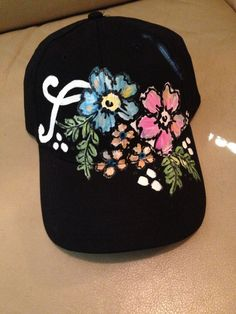 845854f6833 Hand Painted Black and Floral Ball Cap by MWDesigns2 on Etsy