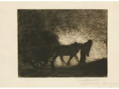 """GEORGE CLAUSEN (1852-1944).  A silhouette of a horse pulling a haywain and being led by a figure, signed in pencil by the artist to the margin with inscription """"To Matt Coulson with every good wish Christmas 1910"""", etching   http://www.dukes-auctions.com/Catalogues/pf120412/page1.html"""
