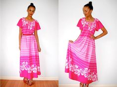 Vtg Retro Floral Striped Pink Maxi Summer Dress by LuluTresors, $54.99