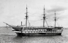 Training ship HMS Conway on the river in 1935