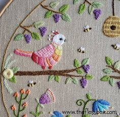 Embroidery closeup. #embroidery #needlework #stitching #hoopart #birds