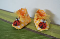 Origami shoes  cute baby souvenir shoes Ladybug by Japonism