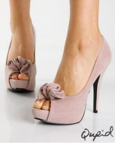 Qupid blush faux suede ruffle peep toe pump. Gorgeous dusty pink is a nice twist on the nude shoe and would add a tinge of color to a monochromatic gray ensemble as well.