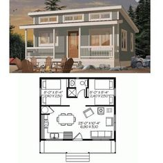 Love this tiny house - and it& just large enough for financing! Love this tiny house - and its just large enough for financing! Little House Plans, Small House Plans, Little Houses, House Floor Plans, Tiny Houses, Guest Houses, Tiny House Cabin, Tiny House Living, Tiny House Design