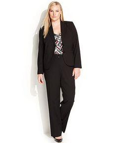 Calvin Klein Plus Size Jacket, Printed Top & Wide-Leg Dress Pants - Wear to Work - Plus Sizes - Macy's