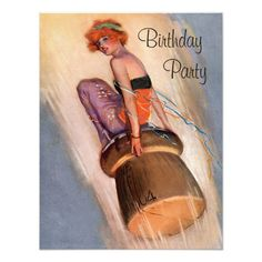 Vintage Pin Up Girl & Champagne Cork Birthday Card