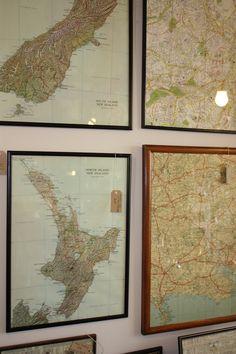 Old maps framed in old frames