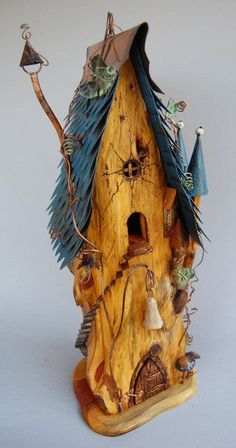 """""""fantasy """" Birdhouse..and yes..it is working birdhouse..just i wouldn't really put out for the birds..its very """"artsy craftsy""""...porch piece"""