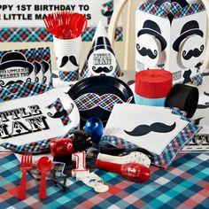 Little Man Mustache 1st Birthday Party Packs, 84348