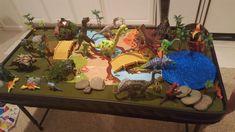 Dinosaur play table Dinosaur Garden, Dinosaur Land, Dinosaur Train, Dinosaur Toys, Dinosaur Room Decor, Dinosaur Bedroom, Nursery Themes, Themed Nursery, Diy For Kids