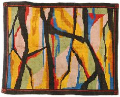 An Omega Workshops woollen carpet. Designed by Roger Fry, 1914.  Abstract design in pastel shades with mustard and coral on a complementary chocolate brown ground, linear salmon border with repeating geometric design at each corner, 94 by 74in