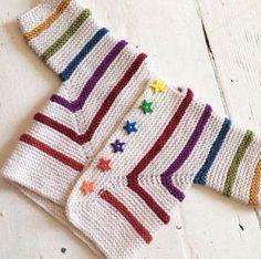 Knit Surprise Jacket Models - We're so beautiful baby Cardigan Model . Baby Knitting Patterns, Baby Cardigan Knitting Pattern, Knitting For Kids, Baby Patterns, Free Knitting, Knitting Projects, Crochet Patterns, Gilet Crochet, Knit Crochet