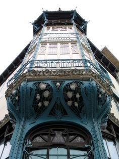 Blue building in Art Nouveau style. Nancy, France. [art_nouveau building Nancy]                                                                                                                                                      Plus
