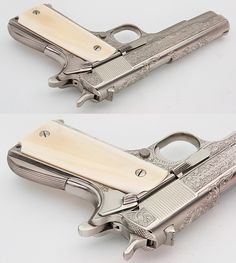 COLT 1911A1 GOVT CUSTOMIZED  ENGRAVED NICKEL IVORY GRIPS 45 ACP GORGEOUS PISTOL - Picture 4 Colt 45, Colt 1911, Weapons Guns, Guns And Ammo, Engraved 1911, Weapon Storage, Springfield Armory, 45 Acp, Survival Equipment