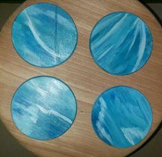 Dessous de verres peints à la main  Collection blue